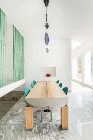 View of modern table in expensive home Imagens - 35448034