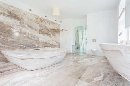 Horizontal view of marble tiles at the bathroom