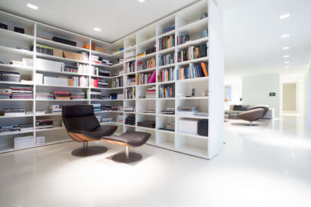 progressive art: View of library inside expensive, modern residence Stock Photo
