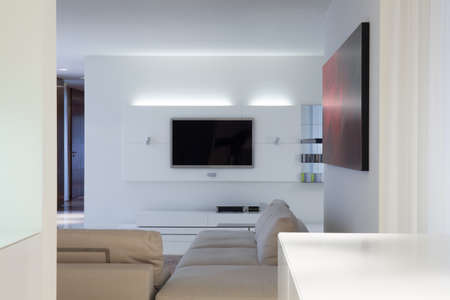 living room design: Interior of designed living room with tv