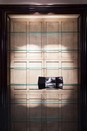 progressive art: View of shelves made of glass inside a room