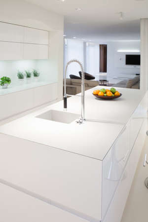 Kitchen island inside elegant and expensive house
