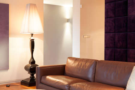 progressive art: Leather brown sofa inside expensive house, horizontal Stock Photo