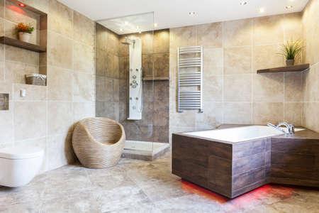 高価なと茶色の浴室、水平のインテリア