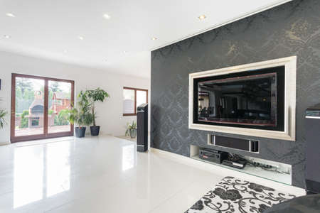 Big tv in a living room, horizontal Banco de Imagens