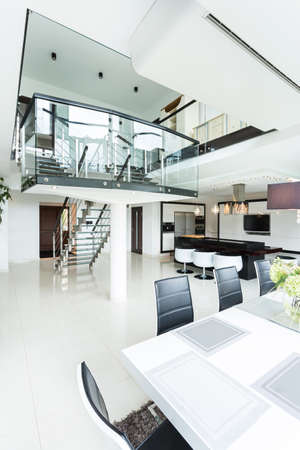 Open space in modern designed house, vertical photo
