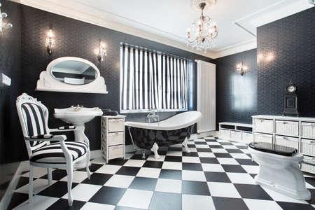 Interior of white and black modern bathroom