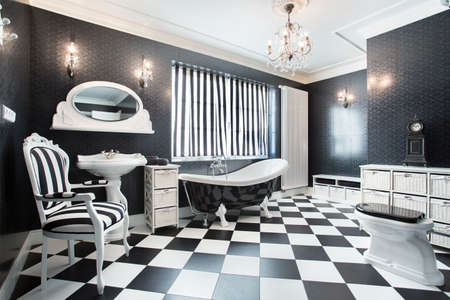 chandeliers: Interior of white and black modern bathroom
