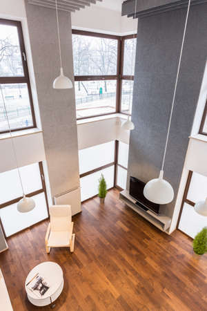 view of an elegant living room: View from the top of new stylish apartment