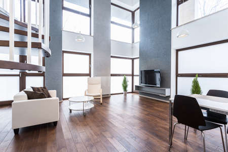 Big up-to-date apartment with white couch