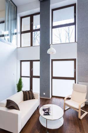 big windows: Изображение высокой стеной с большими окнами в современном салоне