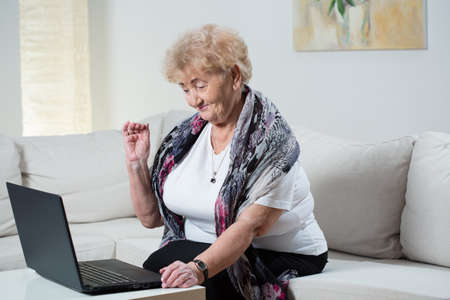 Modern grandma talking on the skype with grandson Stock Photo