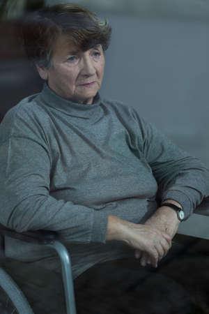 depressed woman: Older depressed woman with health problem