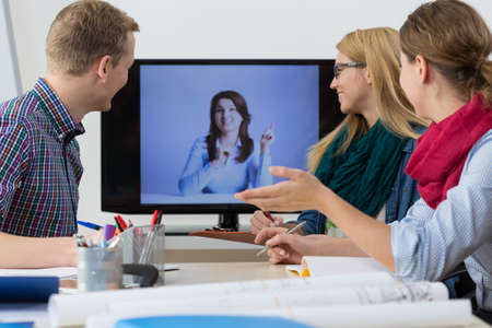 video conference: Web conference - business people having online meeting