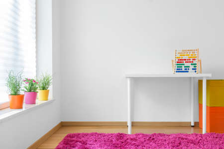Horizontal view of very colorful child room
