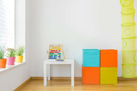 View of colorful furniture in children room Stok Fotoğraf