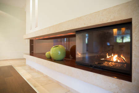 Horizontal view of fireplace inside modern interior
