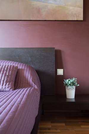 Interior of modern purple bedroom inside house photo