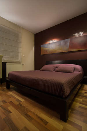 View of dark bedroom with enormous bed photo