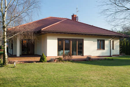 Bungalow from the outside in the autumn