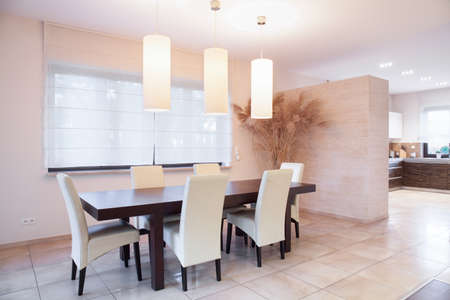 Table with chairs in dining room, horizontal