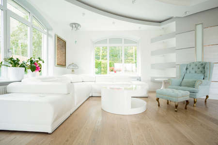 Luxury living room interior in pastel colors