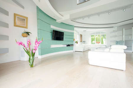 case moderne: Vaso con fiori in piedi sul parquet in salone
