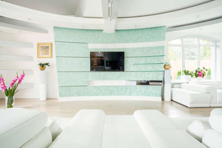 Plasma TV on the wall in elegant luxury interior photo
