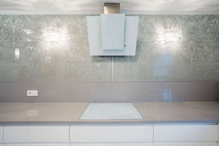 countertops: Close-up of induction hob in designer kitchen