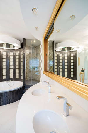 handbasin: Modern shining bathroom interior in luxury apartment