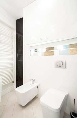 Vertical view of toilet interior in hotel photo
