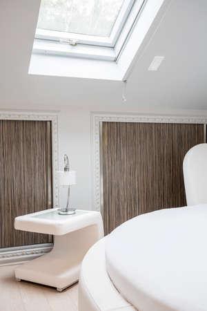 Close-up of designed furniture in modern interior