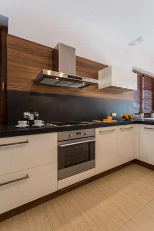 countertops: Vertical view of cozy contemporary kitchen interior