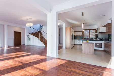 Horizontal view of spacious hall and open kitchen Stok Fotoğraf