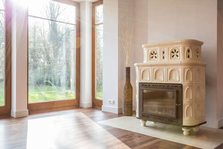 drawing room: Close-up of old-fashioned stove in luxury interior
