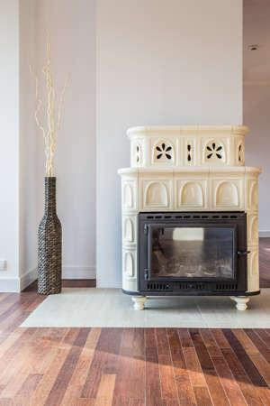 wood burner: Designer stove in luxury living room interior Stock Photo