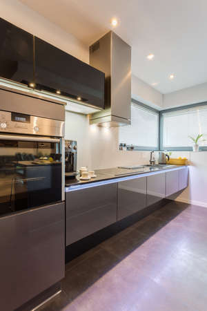 New modern kitchen with marble floor photo