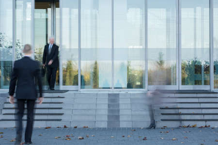 smudgy: Horizontal view of entrance to business building