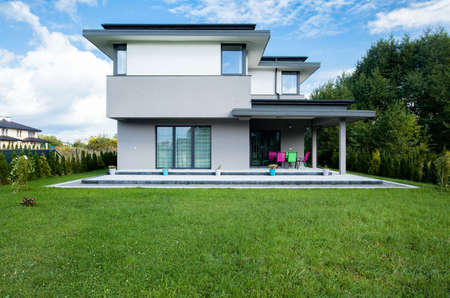 house exteriors: Photo of the new modern house with big garden