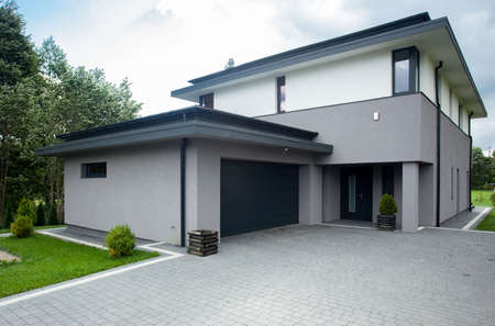 Contemporary driveway parking of the big modern house Stock fotó - 36129408