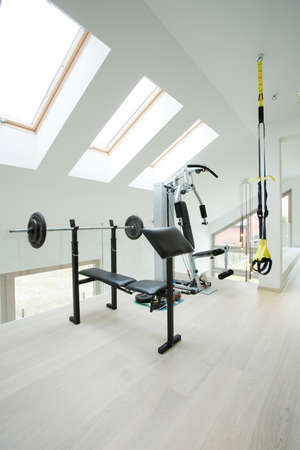 home gym: Vertical view of private gym inside house