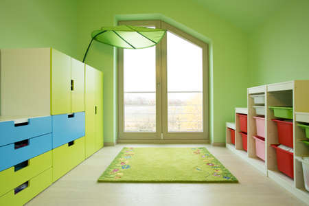 attic: Colorful kids room in the attic, horizontal
