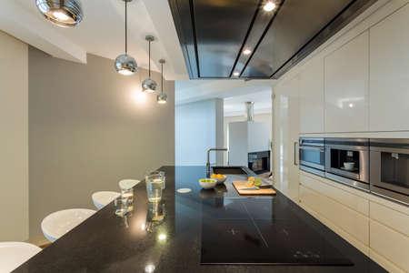 Stylish kitchen in a modern apartment Stock Photo