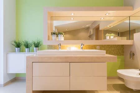 Modern green bathroom in luxury mansion