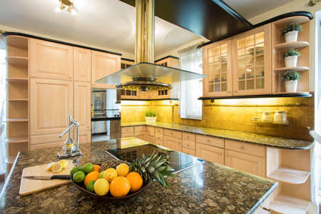 luxury home: Horizontal view of traditional style kitchen interior Stock Photo