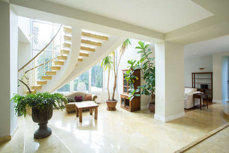 Open space inside greek style house, horizontal