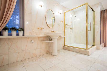 Horizontal view of golden elements inside bathroom photo