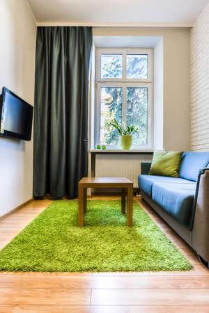 Kleine hotelkamer met groene tapijt en televisie Stockfoto
