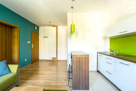 kitchenette: Spacious, green hotel room with modern kitchenette Stock Photo