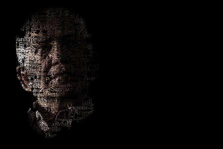 lamentable: Artistic portrait of unhappy senior man on black background